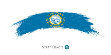 Flag of South Dakota state in rounded grunge brush stroke. Vector illustration.