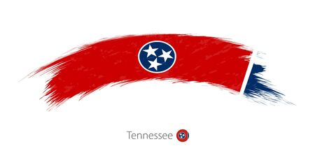 tn  tennessee: Flag of Tennessee state in rounded grunge brush stroke. Vector illustration.