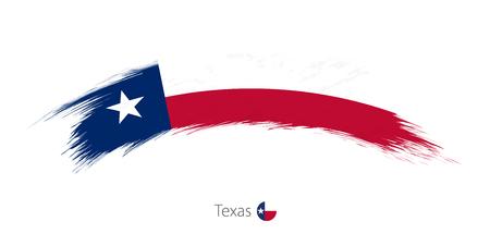 Flag of Texas state in rounded grunge brush stroke. Vector illustration.