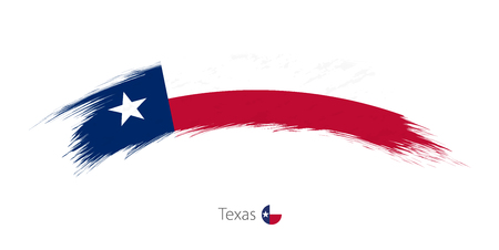 Flag Of Texas State In Rounded Grunge Brush Stroke Vector Illustration
