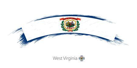 Flag of West Virginia state in rounded grunge brush stroke. Vector illustration.