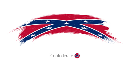 Flag of Confederate in rounded grunge brush stroke. Vector illustration.