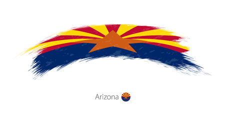 Flag of Arizona state in rounded grunge brush stroke. Vector illustration.