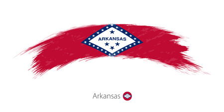 brushed: Flag of Arkansas state in rounded grunge brush stroke. Vector illustration.
