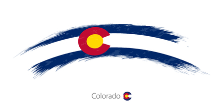 Flag of Colorado state in rounded grunge brush stroke, vector illustration.