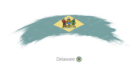 Flag of Delaware state in rounded grunge brush stroke. Vector illustration.