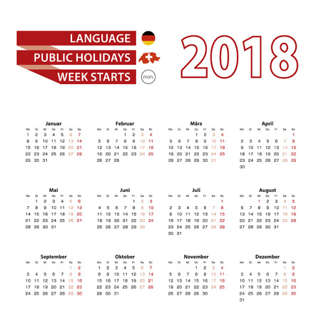 Calendar 2018 in Germany language with public holidays the country of Switzerland in year 2018. Week starts from Monday. Vector Illustration.