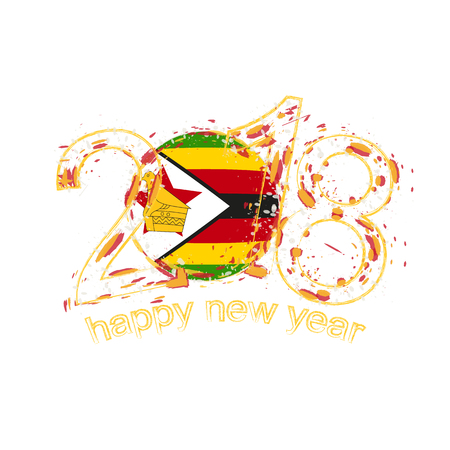 2018 Happy New Year Zimbabwe grunge vector template for greeting card, calendars 2018, seasonal flyers, christmas invitations and other.