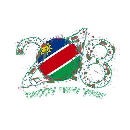 2018 Gelukkig Nieuwjaar Namibië grunge vector sjabloon voor wenskaart, kalenders 2018, seizoensflyers, kerstuitnodigingen en andere.
