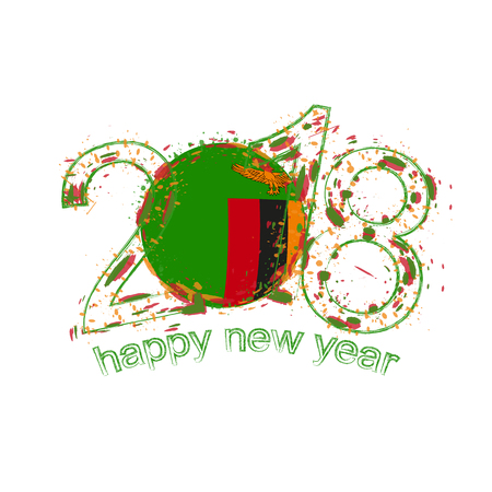 2018 Happy New Year Zambia grunge vector template for greeting card, calendars 2018, seasonal flyers, christmas invitations and other.