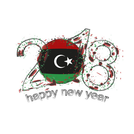 2018 Happy New Year Libya grunge vector template for greeting card, calendars 2018, seasonal flyers, christmas invitations and other. Illustration