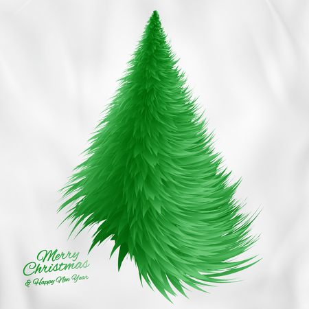 Christmas tree greeting card, on gray abstract background. Vector Illustration. Illustration