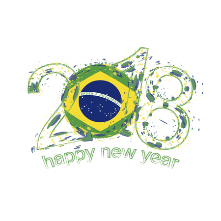 2018 happy new year brazil grunge vector template for greeting 2018 happy new year brazil grunge vector template for greeting card calendars 2018 seasonal m4hsunfo