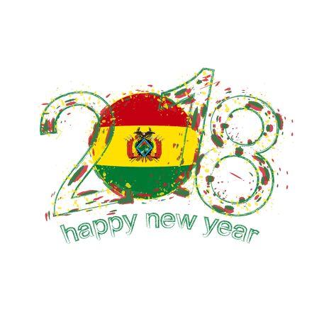 2018 Feliz año nuevo plantilla de vector de grunge de Bolivia para tarjetas de felicitación, calendarios 2018, volantes de temporada, invitaciones de Navidad y otros.