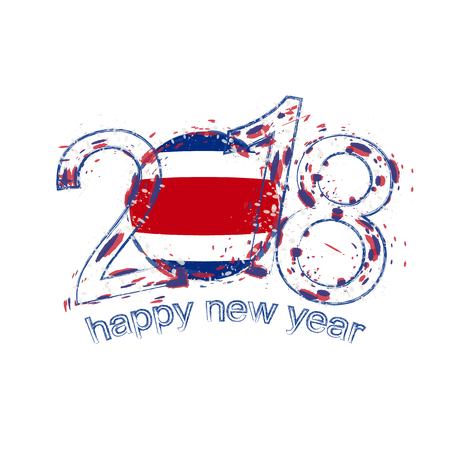 2018 Happy New Year Costa Rica grunge vector template for greeting card, calendars 2018, seasonal flyers, christmas invitations and other.