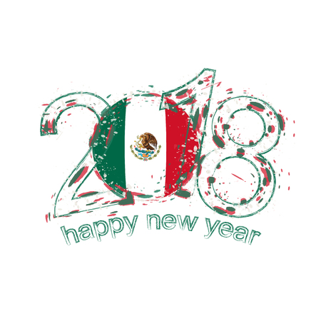 2018 Happy New Year Mexico grunge vector template for greeting card, calendars 2018, seasonal flyers, christmas invitations and other.