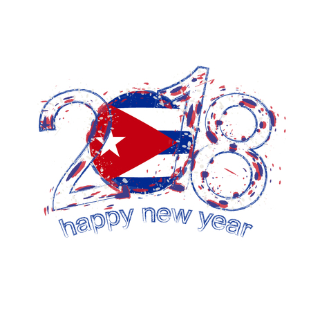 2018 Happy New Year Cuba grunge vector template for greeting card, calendars 2018, seasonal flyers, christmas invitations and other.