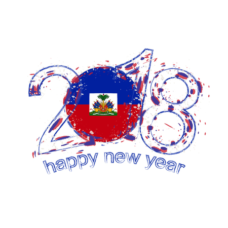 2018 Happy New Year Haiti grunge vector template for greeting card year 2018