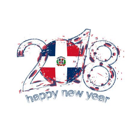 noel 2018 republique dominicaine 2018 Happy New Year République Dominicaine Grunge Modèle Vectoriel  noel 2018 republique dominicaine