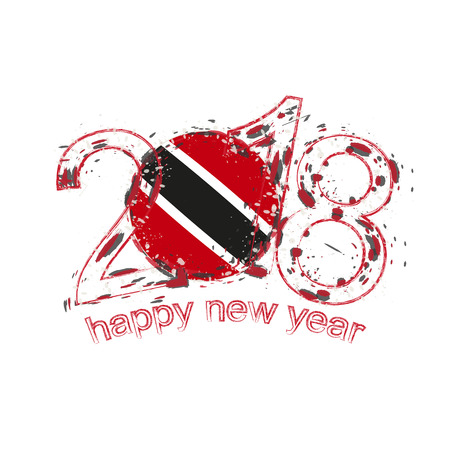 2018 Happy New Year Trinidad and Tobago grunge vector template for greeting card, calendars 2018, seasonal flyers, christmas invitations and other.