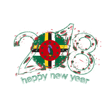 2018 Happy New Year Dominica grunge vector template for greeting card, calendars 2018, seasonal flyers, christmas invitations and other.