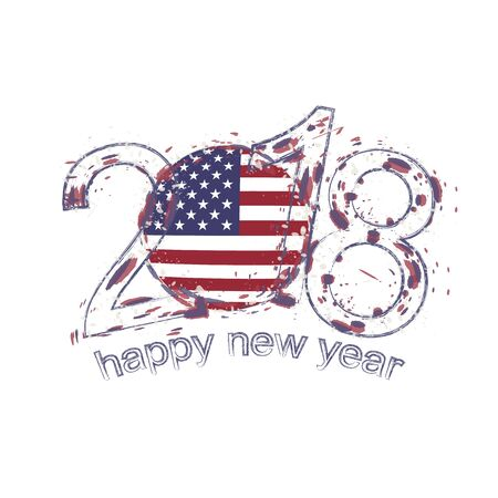 2018 Happy New Year USA grunge vector template for greeting card, calendars 2018, seasonal flyers, christmas invitations and other.