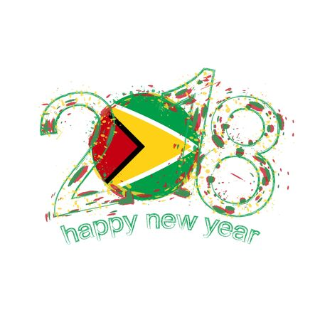 2018 Happy New Year Guyana grunge vector template for greeting card, calendars 2018, seasonal flyers, christmas invitations and other.