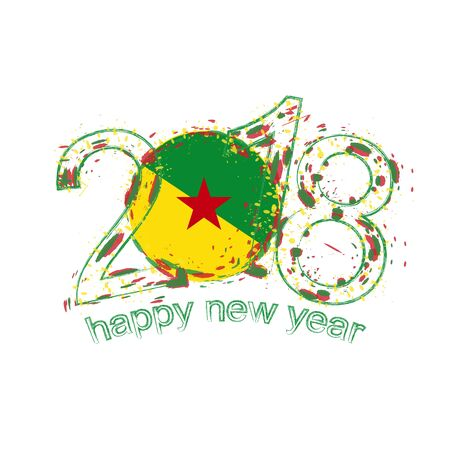 2018 Happy New Year French Guiana grunge vector template for greeting card