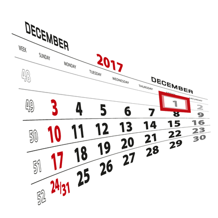 December 1, highlighted on 2017 calendar. Week starts from Sunday. Vector Illustration. Illustration