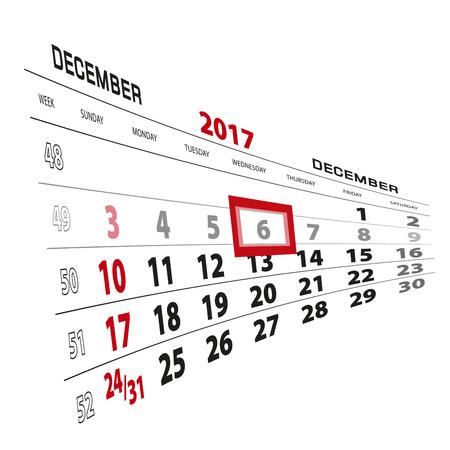 December 6, highlighted on 2017 calendar. Week starts from Sunday. Vector Illustration. Illustration