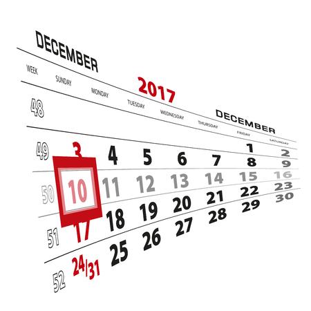 December 10, highlighted on 2017 calendar. Week starts from Sunday. Vector Illustration.