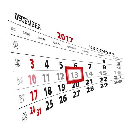 December 13, highlighted on 2017 calendar. Week starts from Sunday. Vector Illustration.