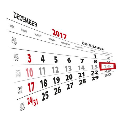 December 16, highlighted on 2017 calendar. Week starts from Sunday. Vector Illustration.