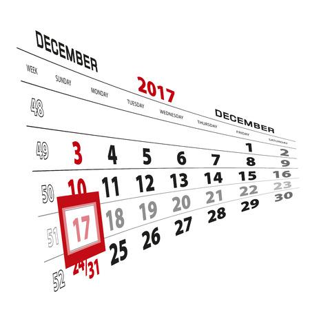 December 17, highlighted on 2017 calendar. Week starts from Sunday. Vector Illustration.