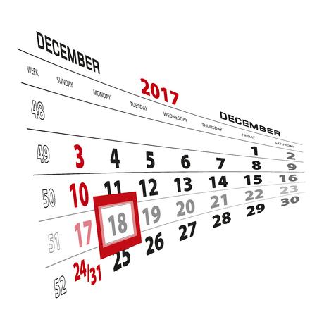 December 18, highlighted on 2017 calendar. Week starts from Sunday. Vector Illustration. Illustration