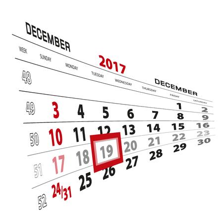 December 19, highlighted on 2017 calendar. Week starts from Sunday. Vector Illustration.