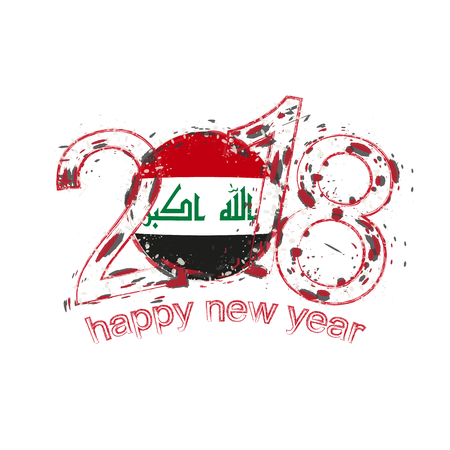 2018 Happy New Year Iraq grunge vector template for greeting card, calendars 2018, seasonal flyers, christmas invitations and other.