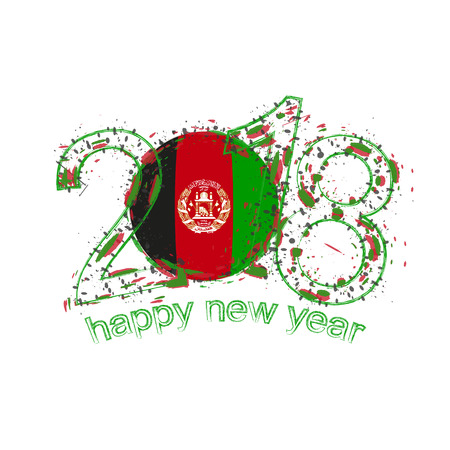 2018 Happy New Year Afghanistan grunge vector template for greeting card, calendars 2018, seasonal flyers, christmas invitations and other.