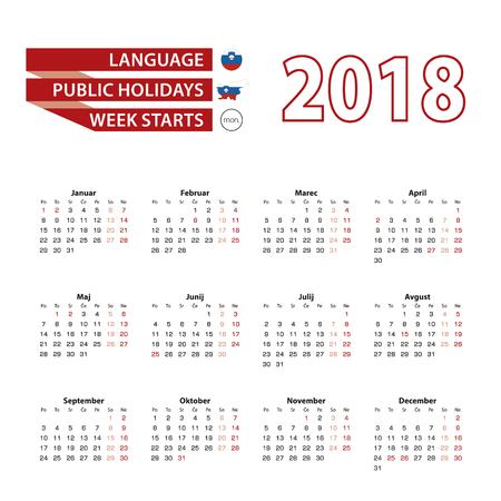Calendar 2018 in Slovene language with public holidays the country of Slovenia in year 2018. Week starts from Monday. Vector Illustration. Stock Vector - 90423041