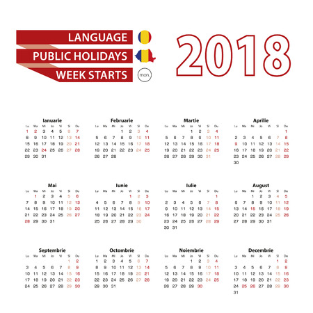 Calendar 2018 in Romanian language with public holidays the country of Romania in year 2018. Week starts from Monday. Vector Illustration. Zdjęcie Seryjne - 90423043