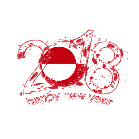 2018 Happy New Year Greenland grunge vector template for greeting card, calendars 2018, seasonal flyers, christmas invitations and other.