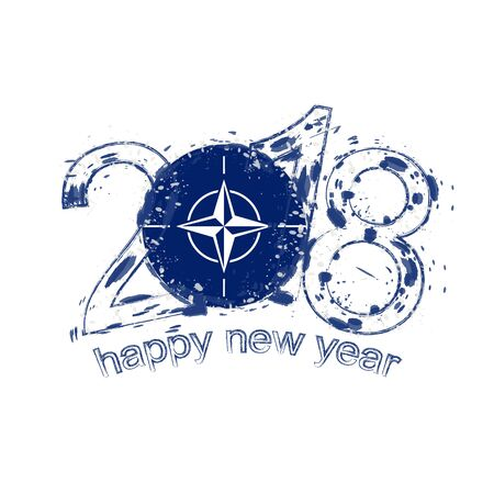 2018 Happy New Year Nato grunge vector template for greeting card, calendars 2018, seasonal flyers, christmas invitations and other.