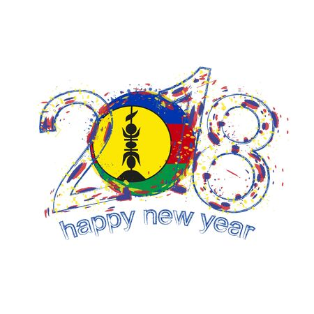 2018 Happy New Year New Caledonia grunge vector template for greeting card, calendars 2018, seasonal flyers, christmas invitations and other.