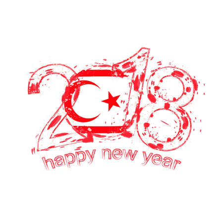 2018 Happy New Year Northern Cyprus grunge vector template for greeting card, calendars 2018, seasonal flyers, christmas invitations and other.