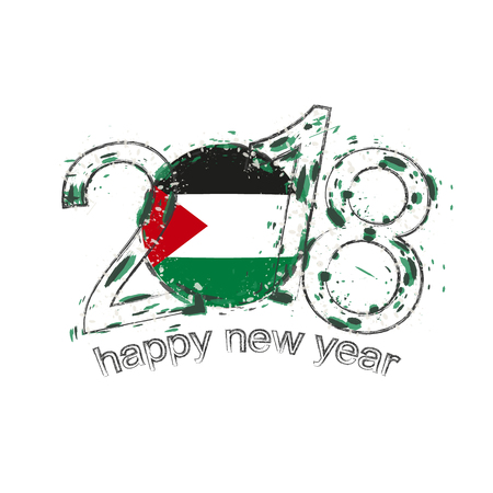 2018 Happy New Year Palestine grunge vector template for greeting card, calendars 2018, seasonal flyers, christmas invitations and other.