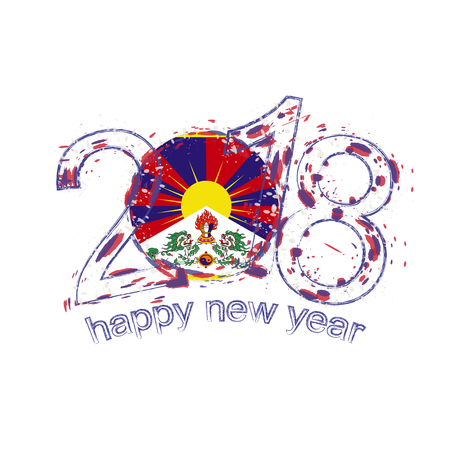 2018 Happy New Year Tibet grunge vector template for greeting card, calendars 2018, seasonal flyers, christmas invitations and other. Illustration