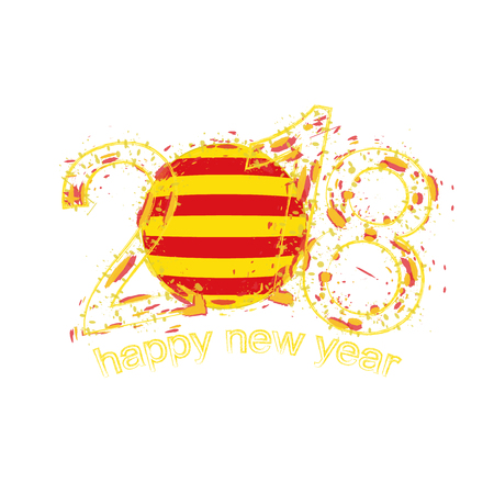 2018 Happy New Year Catalonia grunge vector template for greeting card, calendars 2018, seasonal flyers, christmas invitations and other.