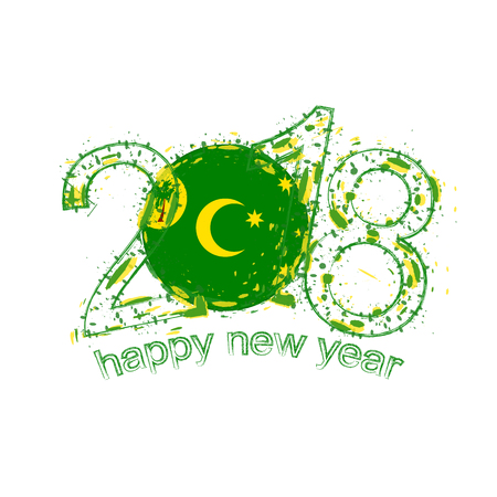 2018 Happy New Year Cocos Islands grunge vector template for greeting card, calendars 2018, seasonal flyers, christmas invitations and other.