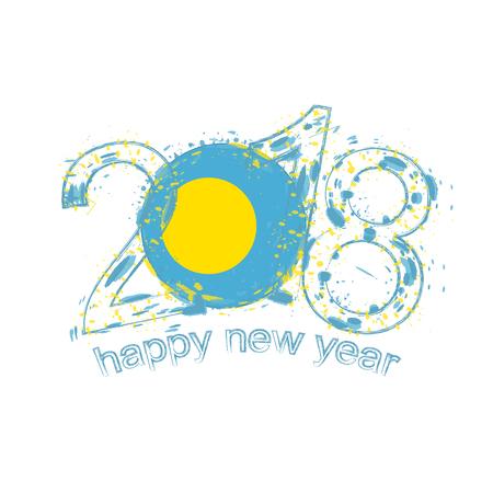 2018 Feliz Año Nuevo Plantilla De Vector De Grunge De Islas