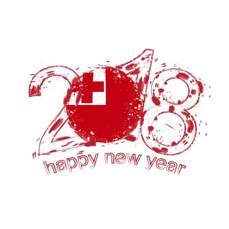 2018 Happy New Year Tonga grunge vector template for greeting card, calendars 2018, seasonal flyers, christmas invitations and other.